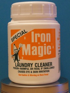 Iron Magic removes Iron and Rust Stains from Laundry and Other Household Items!